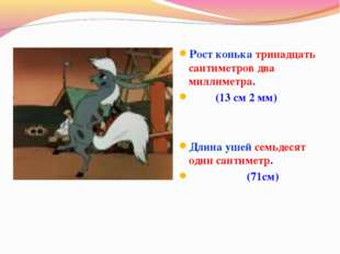 Рост конька тринадцать сантиметров два миллиметра.  (13 см 2 мм) Длина ушей