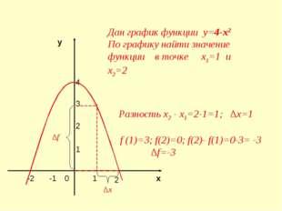 4 3 2 1 у х 2 -2 -1 1 0 Дан график функции у=4-х2 По графику найти значение ф