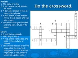 Across: 1. The baby of a dog. 2. A wild animal, which lives in the water. 3.