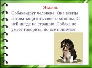 Эталон. Собака-друг человека. Она всегда готова защитить своего хозяина. С н