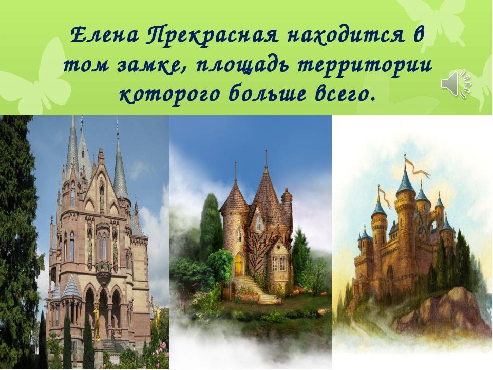 Елена Прекрасная находится в том замке, площадь территории которого больше вс...