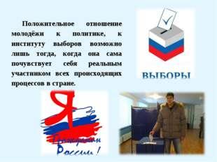 Положительное отношение молодёжи к политике, к институту выборов возможно лиш