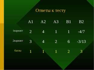 Ответы к тесту А1А2А3В1В2 1вариант2411-4/7 2вариант3426-3/13 б