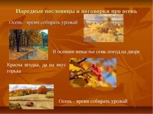 Народные пословицы и поговорки про осень Осень - время собирать урожай В осен