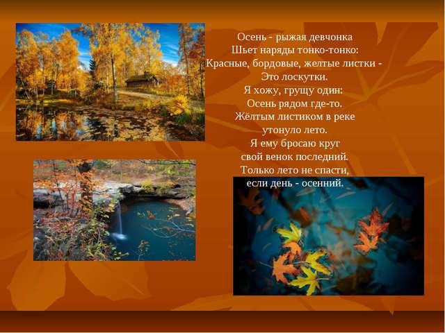 Осень - рыжая девчонка Шьет наряды тонко-тонко: Красные, бордовые, желтые лис...