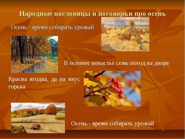 Народные пословицы и поговорки про осень Осень - время собирать урожай В осен...
