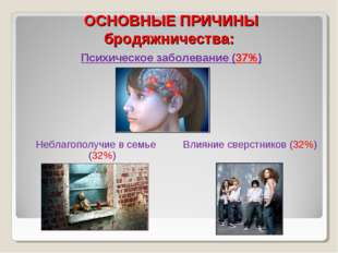 ОСНОВНЫЕ ПРИЧИНЫ бродяжничества: Психическое заболевание (37%) Неблагополучие