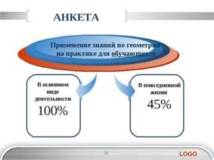 АНКЕТА В основном виде деятельности 100% Применение знаний по геометрии на пр