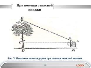 При помощи записной книжки Рис. 5 Измерение высоты дерева при помощи записной