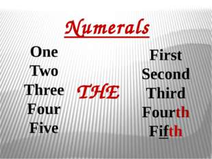 Numerals One Two Three Four Five First Second Third Fourth Fifth THE