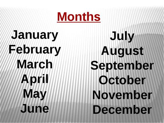 Months January February March April May June July August September October No...