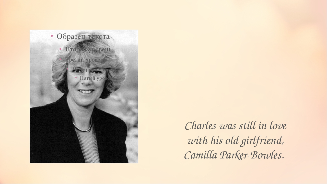 Charles was still in love with his old girlfriend, Camilla Parker-Bowles.