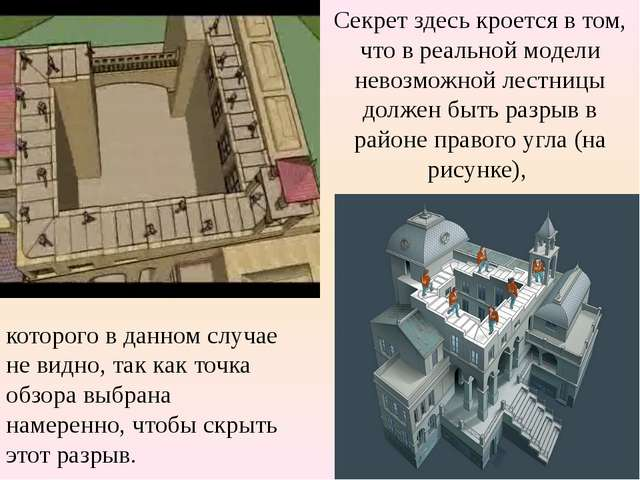 Секрет здесь кроется в том, что в реальной модели невозможной лестницы долже...