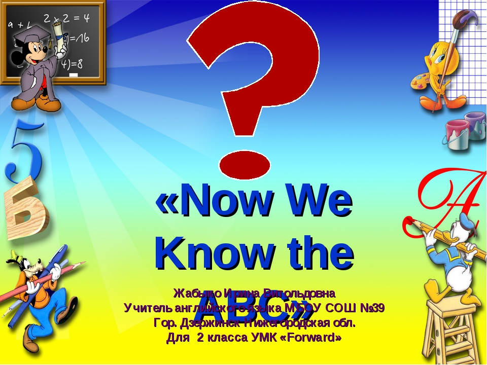 «Now We Know the ABC» Жабыко Ирина Витольдовна Учитель английского языка МБОУ...