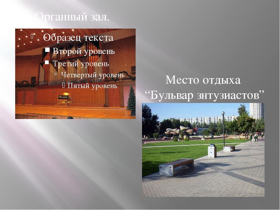 """Органный зал. Место отдыха """"Бульвар знтузиастов"""""""