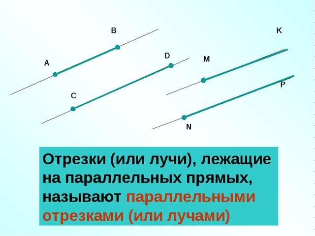 Отрезки (или лучи), лежащие на параллельных прямых, называют параллельными от...