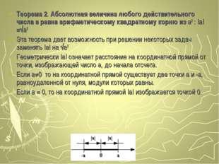 Теорема 2. Абсолютная величина любого действительного числа a равна арифметич