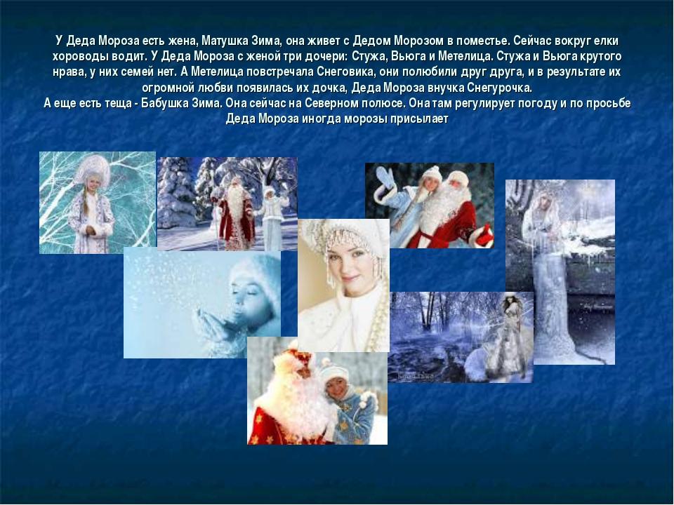 У Деда Мороза есть жена, Матушка Зима, она живет с Дедом Морозом в поместье....