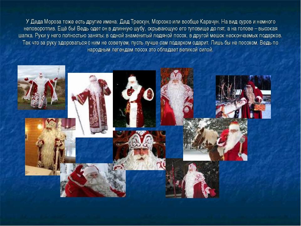 У Деда Мороза тоже есть другие имена: Дед Трескун, Морозко или вообще Карачун...