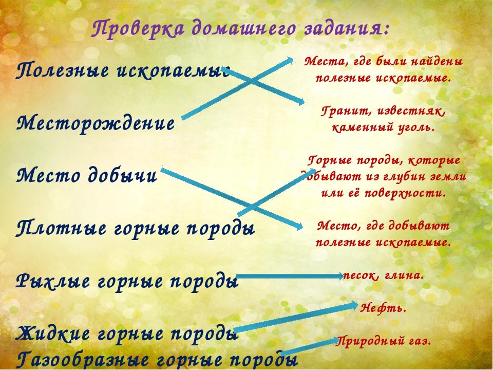 Проверка домашнего задания: Полезные ископаемые Месторождение Место добычи Пл...