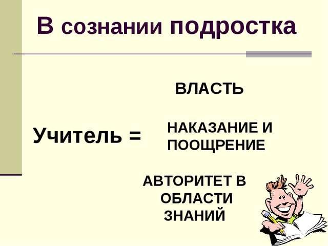 В сознании подростка Учитель = ВЛАСТЬ НАКАЗАНИЕ И ПООЩРЕНИЕ АВТОРИТЕТ В ОБЛАС...