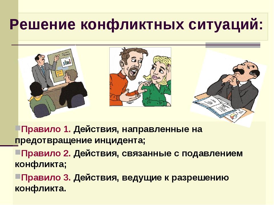 Правило 1. Действия, направленные на предотвращение инцидента; Правило 2. Дей...