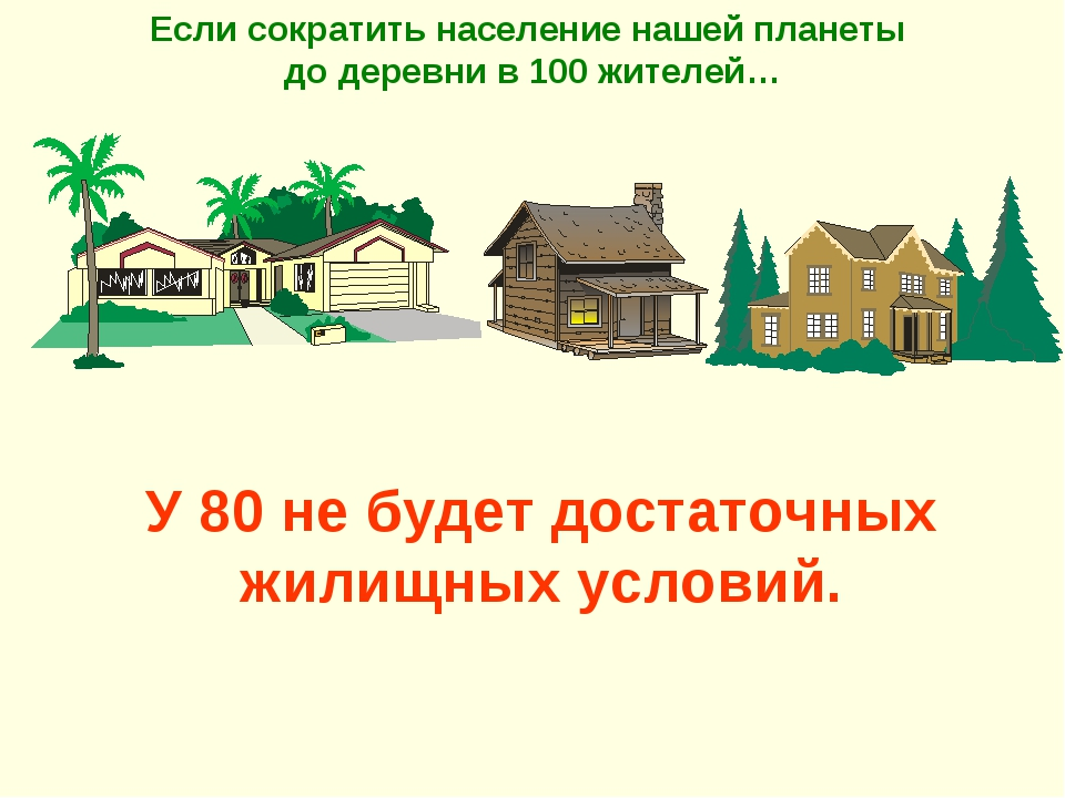У 80 не будет достаточных жилищных условий. Если сократить население нашей пл...