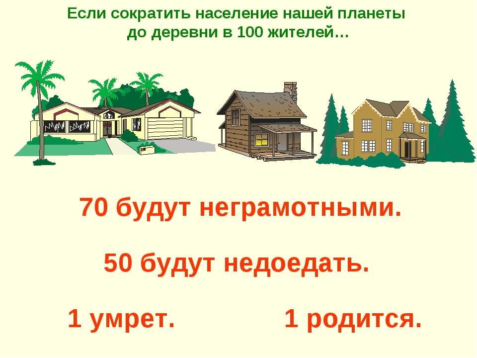 1 родится. Если сократить население нашей планеты до деревни в 100 жителей…...