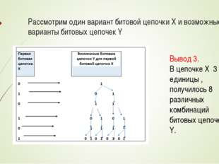 Рассмотрим один вариант битовой цепочки X и возможные варианты битовых цепоче