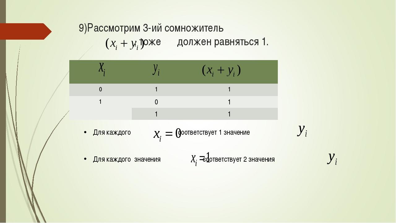 9)Рассмотрим 3-ий сомножитель , тоже должен равняться 1. Для каждого соответс...