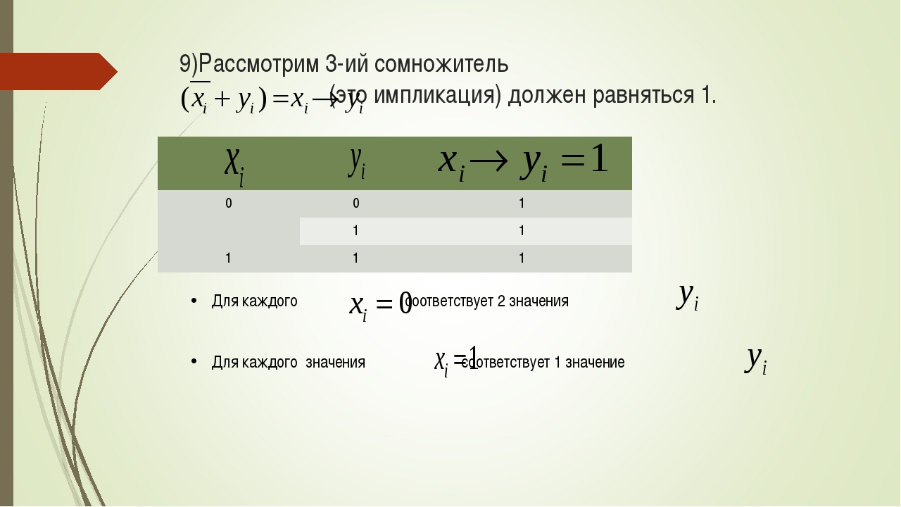 9)Рассмотрим 3-ий сомножитель (это импликация) должен равняться 1. Для каждог...