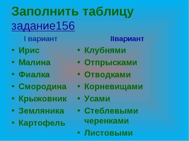Заполнить таблицу задание156 I вариант Ирис Малина Фиалка Смородина Крыжовник...