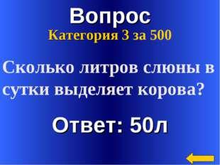 Вопрос Ответ: 50л Категория 3 за 500 Сколько литров слюны в сутки выделяет ко