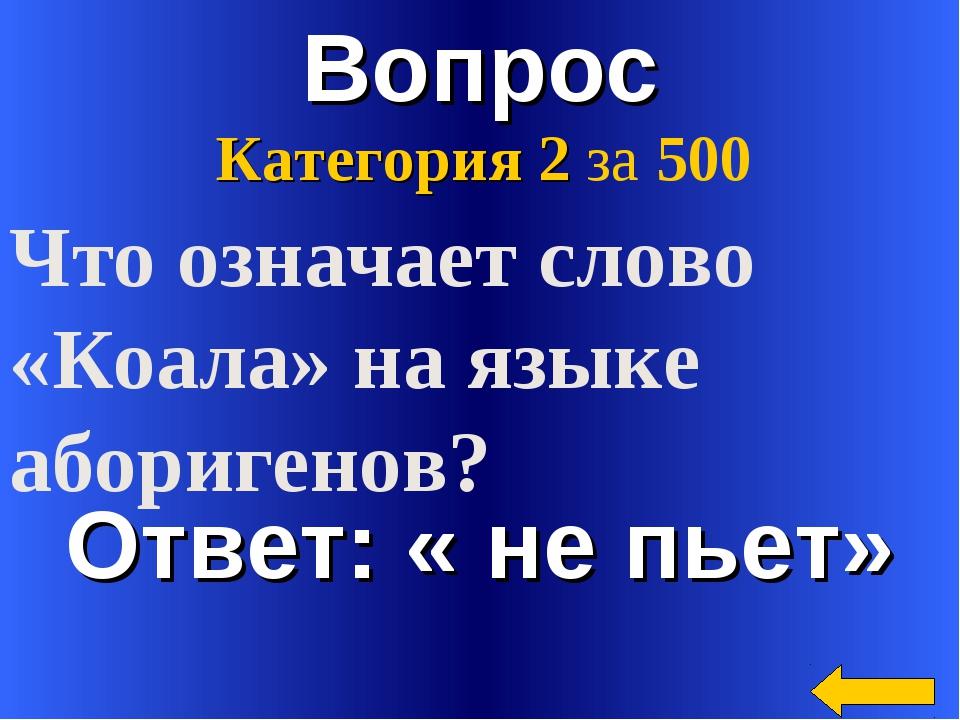 Вопрос Ответ: « не пьет» Категория 2 за 500 Что означает слово «Коала» на язы...