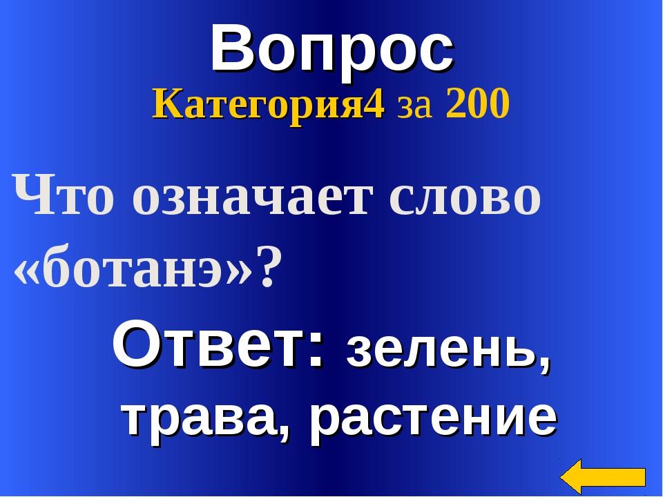 Вопрос Ответ: зелень, трава, растение Категория4 за 200 Что означает слово «б...