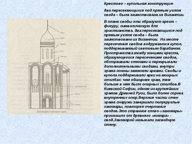 Крестово – купольная конструкция- два пересекающихся под прямым углом свода –...