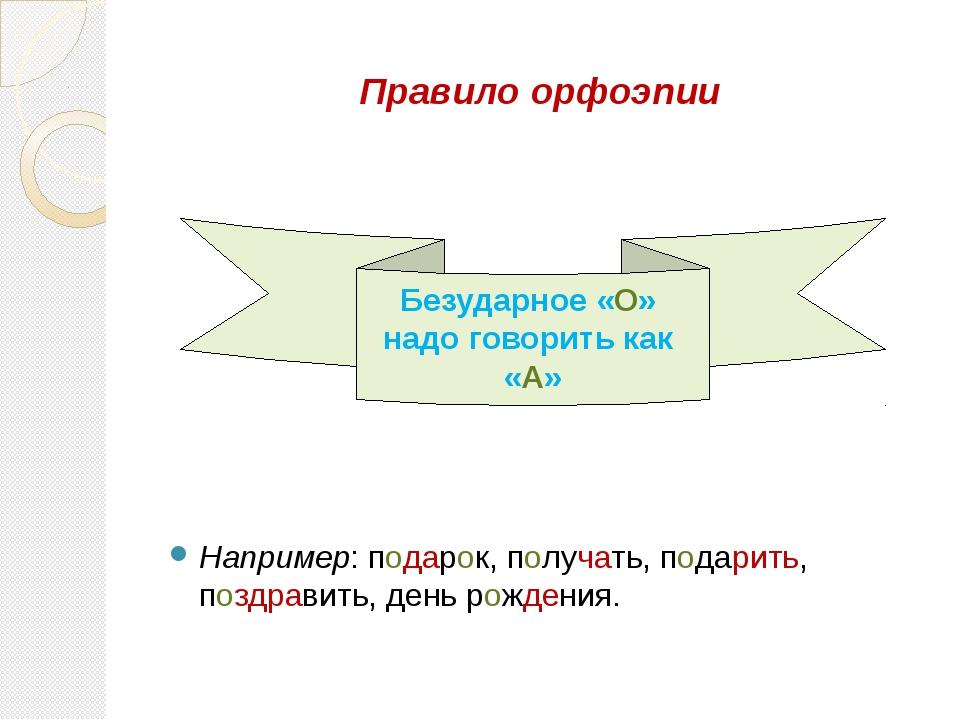 Правило орфоэпии Например: подарок, получать, подарить, поздравить, день рожд...