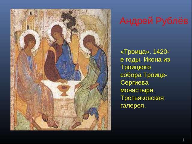 «Троица». 1420-е годы. Икона из Троицкого собора Троице-Сергиева монастыря. Т...