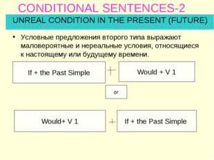 CONDITIONAL SENTENCES-2 Условные предложения второго типа выражают маловероят