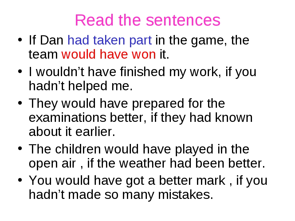 Read the sentences If Dan had taken part in the game, the team would have won...