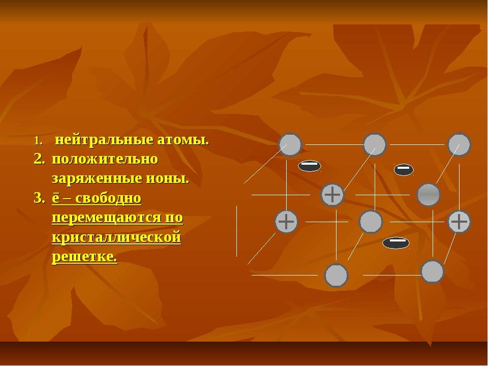 нейтральные атомы. положительно заряженные ионы. ē – свободно перемещаются п...