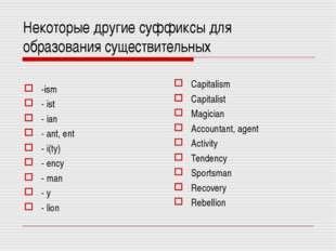Некоторые другие суффиксы для образования существительных -ism - ist - ian -
