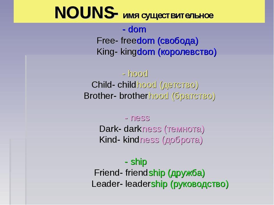 NOUNS- имя существительное - dom Free- freedom (свобода) King- kingdom (коро...