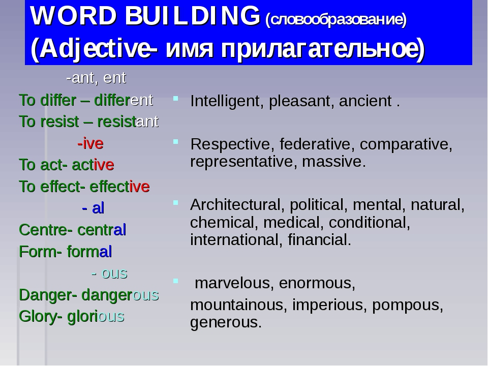 WORD BUILDING (словообразование) (Adjective- имя прилагательное) -ant, ent To...