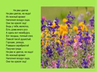 Не рви цветов Не рви цветов, не надо! Их нежный аромат Наполнил воздух сада,