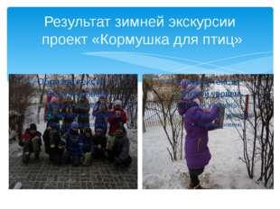 Результат зимней экскурсии проект «Кормушка для птиц»