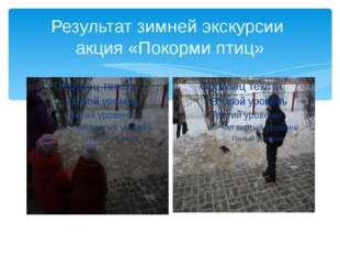 Результат зимней экскурсии акция «Покорми птиц»