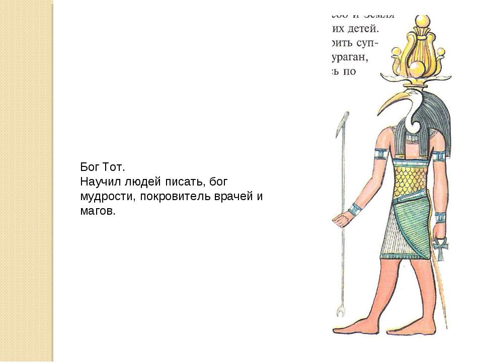 Бог Тот. Научил людей писать, бог мудрости, покровитель врачей и магов.