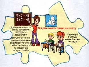 Всі діти мають право на освіту Конвенція ООН про права дитини Ст. 28,29 Дитин