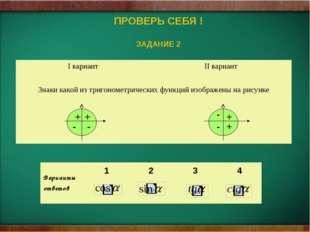 ПРОВЕРЬ СЕБЯ ! ЗАДАНИЕ 2 - - + + + - - + Iвариант IIвариант Знаки какой из т